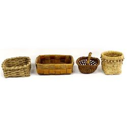 4 Native American Makah Baskets