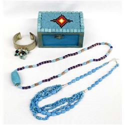 Hand Beaded Wood Trinket Box and Jewelry