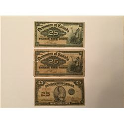 Lot of 3 Shinplasters 2 are 1900 and 1 is 1923 without authorized