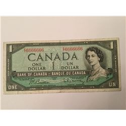 1954 Canadian Million Numbered one Dollar Note and Radar note