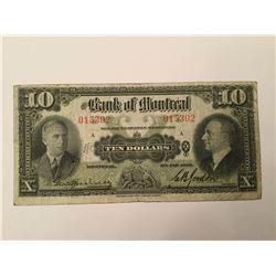 1938 Bank of Montreal Ten Dollar Note
