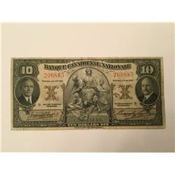 1935 Banque Canadienne Nationale Ten Dollar Note