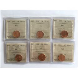 6 - ICCS 1950 s and 1960 s MS63 Canadian Penny