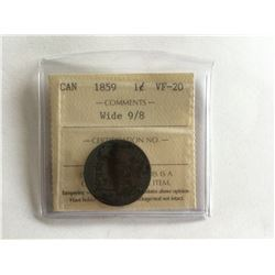1 ICCS 1859 Canadian Penny VF20 Wide9/8