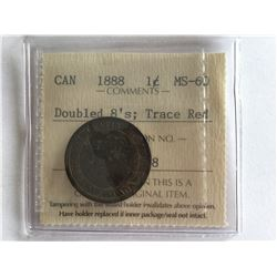ICCS 1888 Canadian one Cent MS60 Double 8 Penny