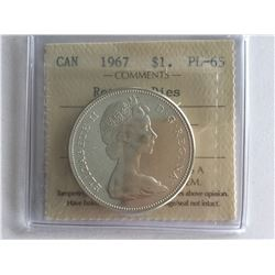 ICCS 1967 Canadian Silver Dollar rotated Dies PL65