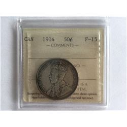 ICCS 1914 Canadian Silver 50 cent F15
