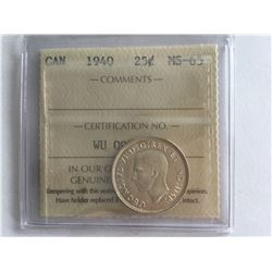 ICCS 1940 Silver Canadian 25 cent MS65