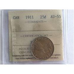 ICCS 1911 Silver Canadian 25 cent AU55