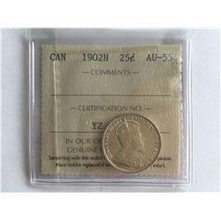 ICCS 1902H Silver Canadian 25 cent AU55