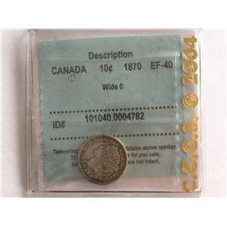 CCCS 1870 Wide O Canadian Silver 10 cent EF-40