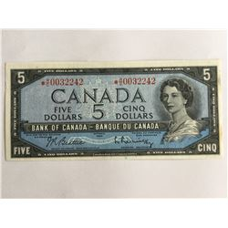 1954 Canadian$5.00 UNC Replacement Note *RC0032242