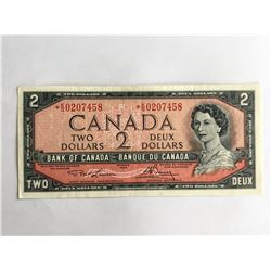 1954 Canadian $2.00 UNC & Replacement Note *0207458