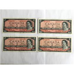 Lot of 4 - 1954 Canadian $2.00 notes all Uncirculated