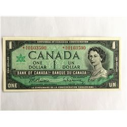 1967 Canadian Centennial Commemorative $1.00 Note *NO0103590