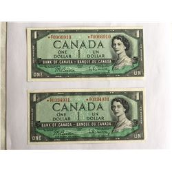 Lot of 2 - 1954 Canadian $1.00 Notes AU-UNC  *AY0334931 - *MY0066910