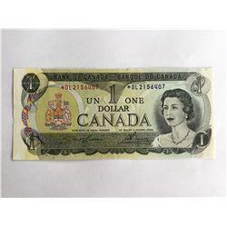 "Scarce 1973 Canadian $1.00 ""Crisp UNC note *OL2156407"