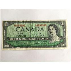 1954 Canadian $1.00 one digit Radar Note OP9999999