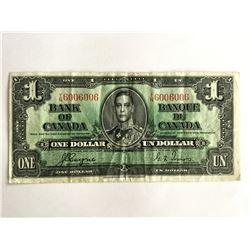 1937 Canadian $1.00 Scarce 2 Digit Radar note TN6006006