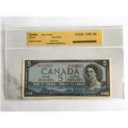 """CCGS 1954 Canadian $5.00 """"Devils Face"""" Note AC6136507 UNC64"""