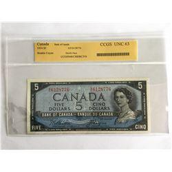 """CCGS 1954 Canadian $5.00 """"Devils Face"""" Note GC6128776 UNC63"""
