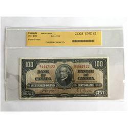 CCGS 1937 Canadian $1.00 Note UNC62   BJ4447122