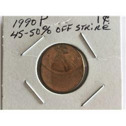 1990P United States Error Penny 45% - 50% Off strike