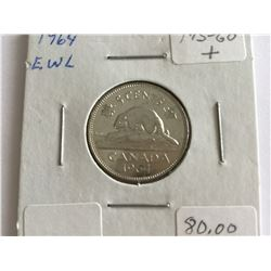 1964 Canadian 5¢ Extra Water Line