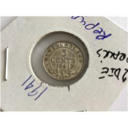 1941 Newfoundland Error 5¢ Double Punch 4 Silver