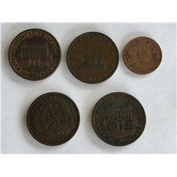 5 - Canadian Half cent  & Tokens; Nova Scotia, New Brunswick, Province of Canada & Bank of Montreal