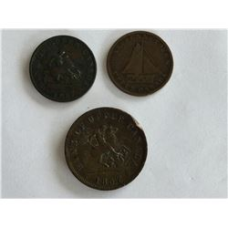 3 - Tokens 2 half Penny and 1 Penny
