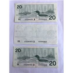 Canadian 1991 Error Sequence of 3 $20.00 Notes all Choice UNC Rare