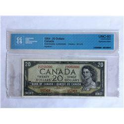1954 CCCS Certified Specimen $20.00 Note UNC-60