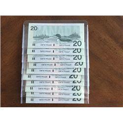 1991 Crisp Sequence of Ten $20.00 Bank Notes Series EWF