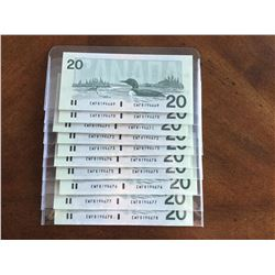 1991 Crisp Sequence of Ten Canadian $20.00 Bank Notes Series EWF