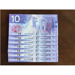 2001 Crisp Sequence of Seven Canadian $10.00 Bank Notes Series BES
