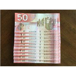 2006 Crisp Sequence of Ten Canadian $50 Bank Notes Series AHJ