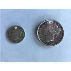 1858 Canadian  Queen Victoria Silver 5¢ and 20¢ pieces