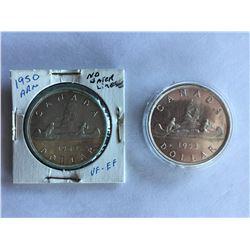 Canadian Silver Dollars 1950 ARN 1953 NFS-FWL
