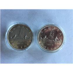 Canadian Silver Dollar 1954 FWL and  1956