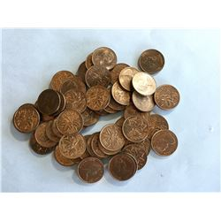 1976 Canadian Pennies Very Red 1¢ full roll