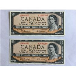 two 1954 Sequence $50.00 Notes series B/H UNC