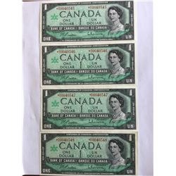 4  Canadian 1967 $1.00 Note in Low Sequence UNC