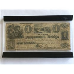 1840 $1.00 Extremely Rare Queenstown Upper Canada Note in Frame