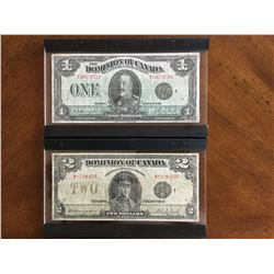 2 Dominion of Canada $1.00 and $2.00 Notes