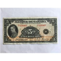French 1935 Banque Du Canada $5.00 note