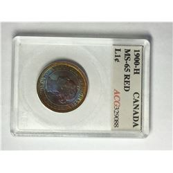 1900H Canadian Large Cent Rainbow affect MS 65