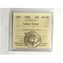 1906 Canadian Large Crown 25¢ piece AU-58