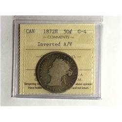 1872H Canadian 50¢ piece Inverted A/V G4