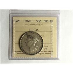 1870 Canadian 50¢ piece L.C.W. VF-30